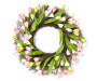 Pink Artificial Crocus Floral Wreath 22 inches Silo Front View