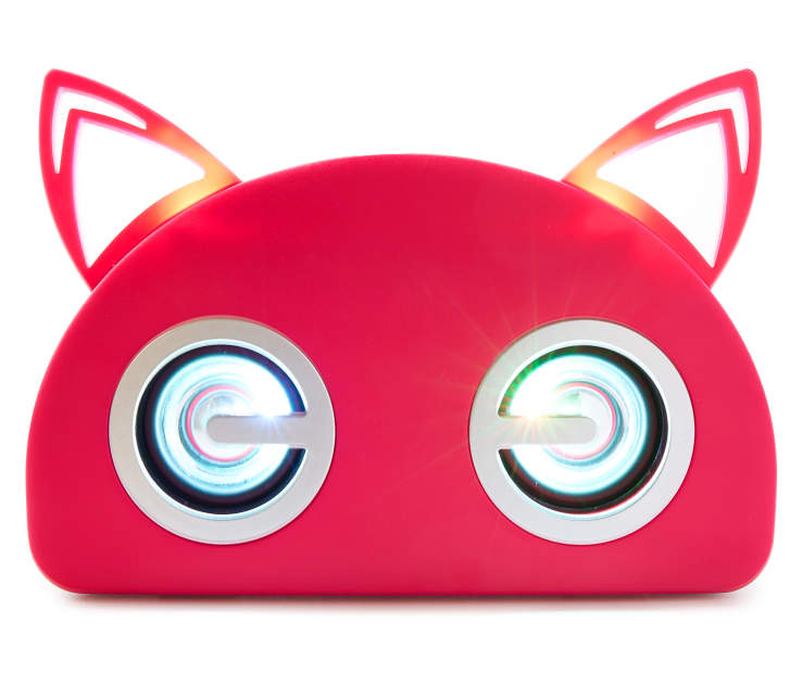 Pink Bluetooth Light Up Cat Speaker Front View Silo Image