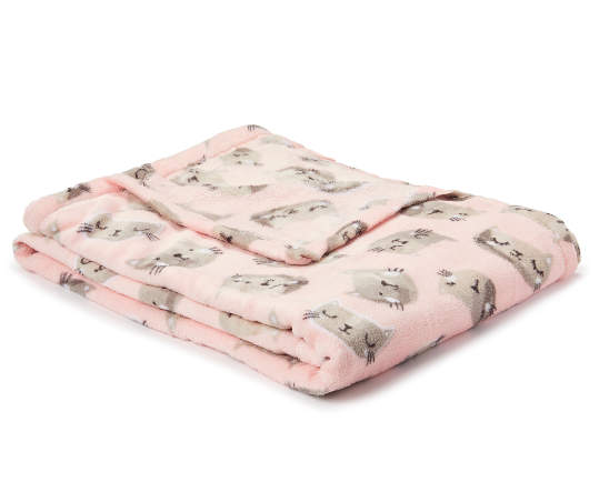 Just Home Pink Cat Fleece Throw Big Lots