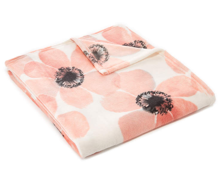 Pink Floral Velvet Plush Throw silo angled