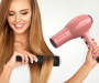Pink Ionic Ceramic Hair Dryer silo view angled with model