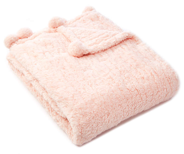 Pink Pom Pom Sherpa Throw silo front