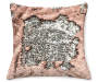 Pink Rose & Silver Mermaid Sequin Pillow 17in silo