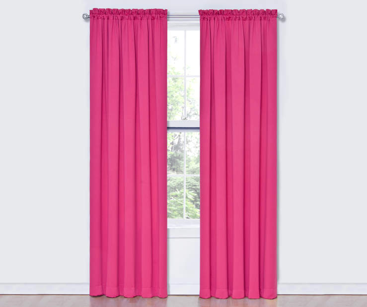 Pink Thermal Curtain Panel Pair 84 Inches on Window Room View