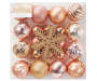 Pink and Champagne Gold Snowflake Shatterproof Ornaments 24 Pack silo front in package