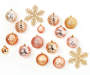 Pink and Champagne Gold Snowflake Shatterproof Ornaments 24 Pack silo front