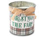 Plaid Christmas Tree Farm Tin Candle 17 ounce silo front