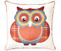Plaid Owl Throw Pillow 18 inch x 18 inch silo front