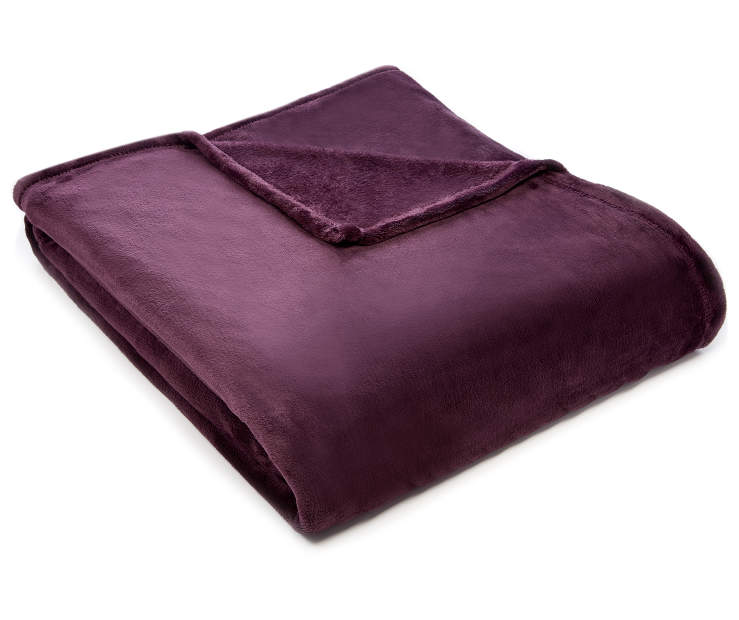 Plum Twin Full Velvet Plush Blanket silo angled