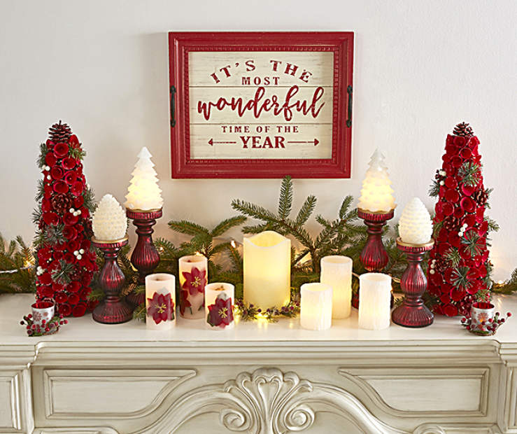 an enchanting glow paired with red and green hues will fill your home when you deck out your mantel with this seasons favorites - Big Lots Christmas Eve Hours