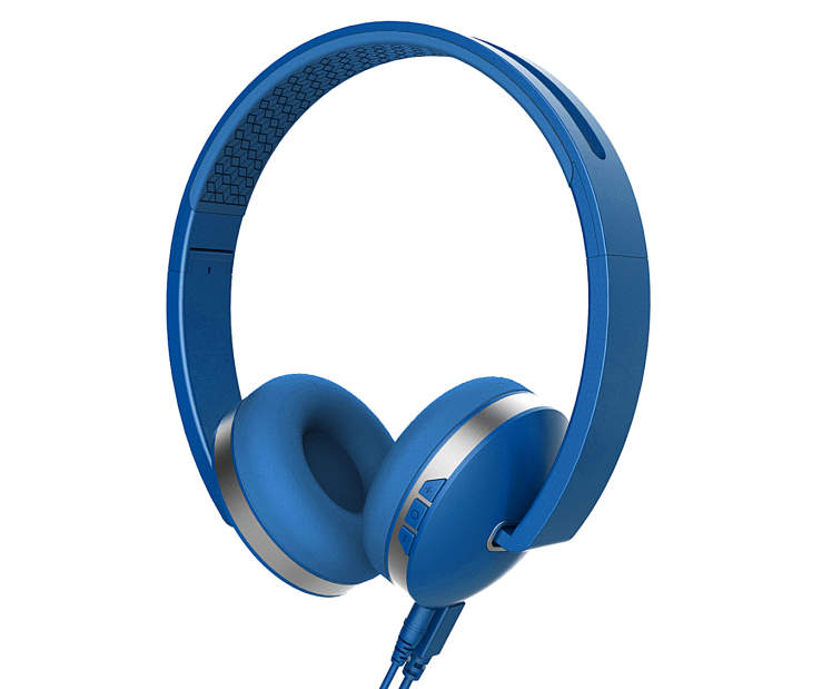 Polaroid Blue Bluetooth Titanium Line Headphones with Control Buttons Silo Image