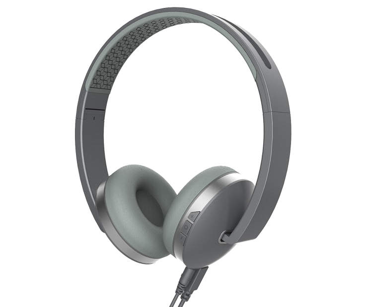 Polaroid Silver Bluetooth Titanium Line Headphones with Control Buttons Silo Image