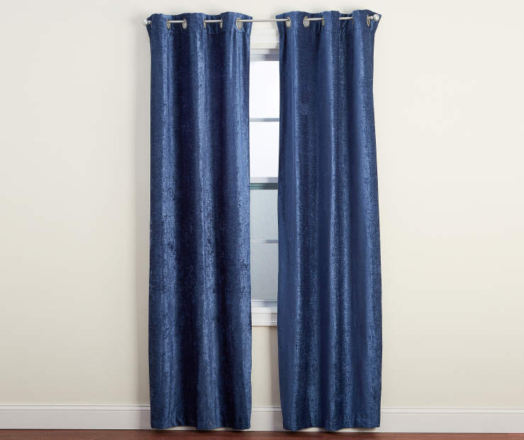 Polazzo Navy Blue Chenille Curtain Panel Pair 84 inches Silo Image