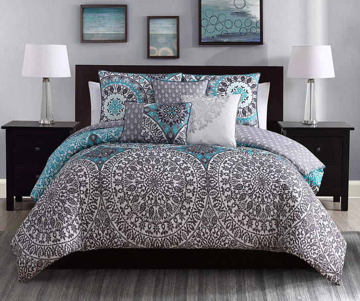 Project Runway Katrina Aqua Amp Gray Queen 6 Piece Comforter