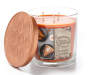 Pumpkin Nutmeg 3 Wick Candle with Lid Off Slight Angle Front View Silo Image