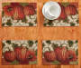Pumpkin Parade Tapestry Placemats 4 Pack on Table with Props Overhead View Lifestyle Image