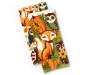 Pumpkin Patch Critters Kitchen Towels 2 Pack Stacked and Fanned Overhead View Silo Image