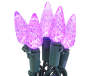 Purple Crystallized C6 LED Light Set with Green Wire 60 Count silo front