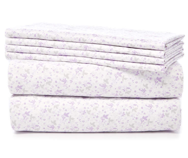 Purple Dainty Floral 6 Piece Queen Sheet Set Stacked and Folded Silo Image