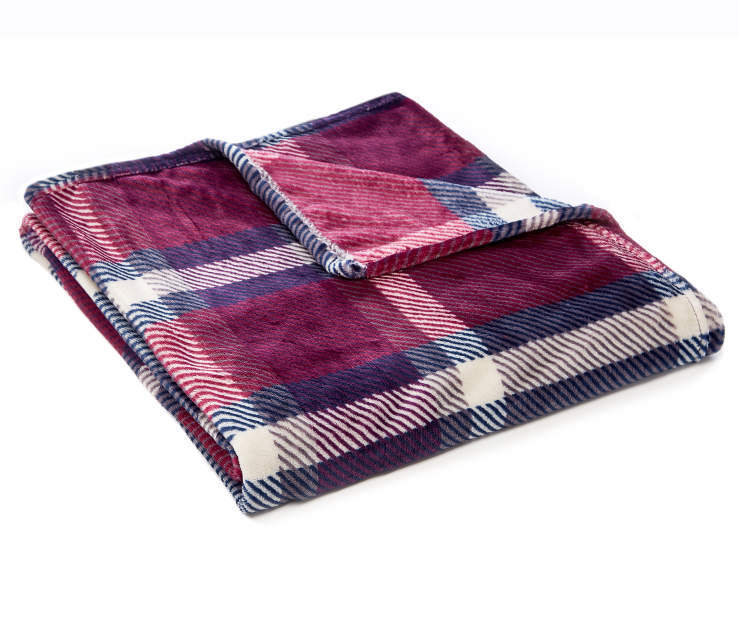 Purple Plaid Velvet Plush Throw silo angled