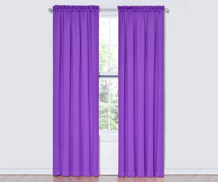 Purple Thermal Curtain Panel Pair 84 Inches on Window Room View
