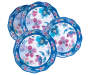 Purple and Blue Floral Melamine Salad Bowls 4 Pack Silo Overhead