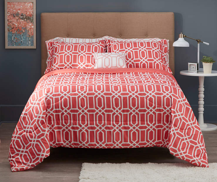 Queen Coral Tile Bed-In-A-Bag Comforter Set, 8-Piece