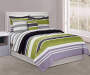 Queen Green And Black Stripe 8 Piece Comforter Set on Bed Room View