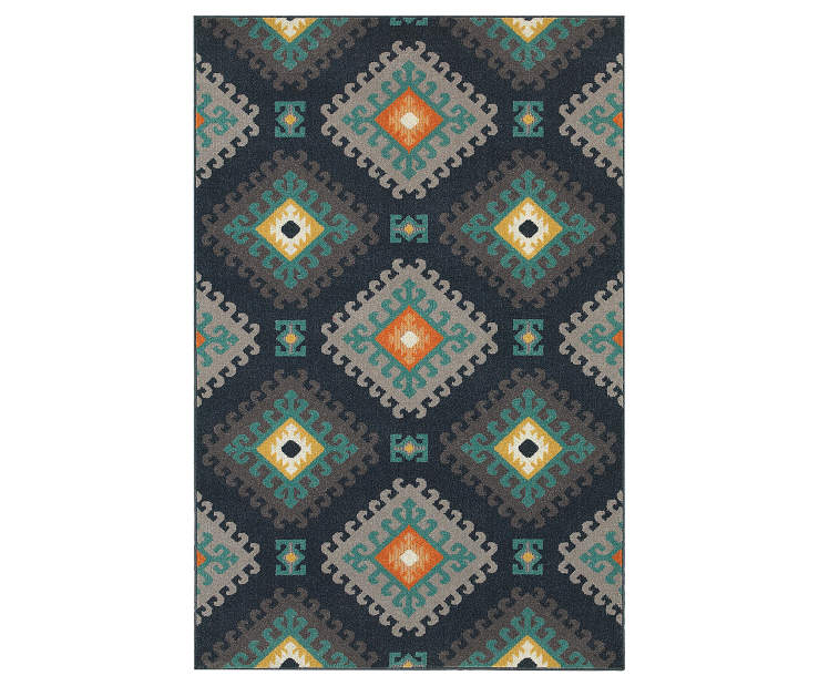 Quillian Navy Area Rug 3 Feet 3 Inches by 5 Feet Overhead View Silo Image
