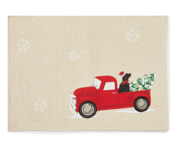 Vintage Red Truck Christmas Placemats.Winter Wonder Lane Christmas Vintage Red Truck Placemat