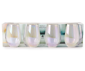 c0020d2033d Circleware Radiance White Pearl 4-Piece Blue Luster Stemless Wine Glass Set  Circleware Radiance White Pearl 4-Piece Blue Luster Ste.