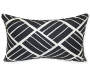 Raffia Black and White Outdoor Throw Pillow 12in x 20in silo front