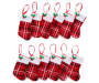 Red, white and black Plaid Mini Stockings 12 Pack entire set showing each with white trim and mistletoe accent made of red sequins and green fabric leaves overhead view silo image