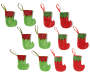 Red & Green Elf Mini Stockings 12 pack entire set with green stockings with red trim and red stockings with green trim overhead view silo image