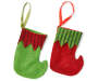 Red & Green Elf Mini Stockings 12 pack with each style shown with green stocking with red trim and red stocking with green trim overhead view silo image