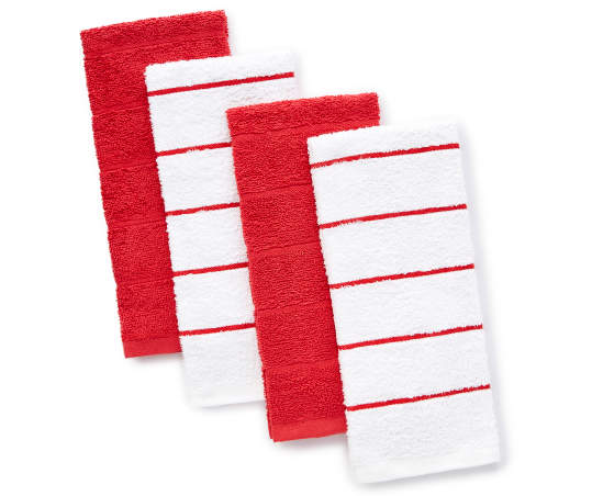 Master Cuisine Red & White Cotton Kitchen Towels, 4-Pack