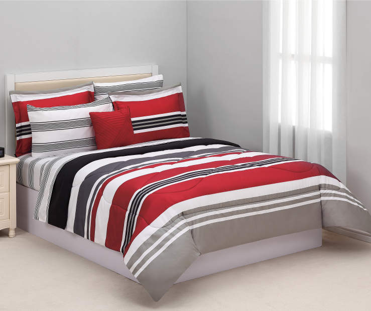 Red Black Gray Stripe Queen 8 Piece Reversible Comforter Set Lifestyle Stripes Bedroom