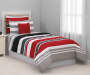 Red Black and Gray Stripe Twin 6 Piece Reversible Comforter Set lifestyle bedroom