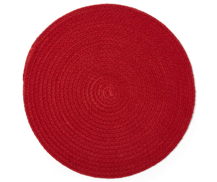 Red Braided Round Placemat Overhead View Silo Image