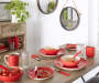 Red Brushstroke Dinnerware 32 Piece Set lifestyle dining room