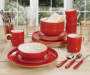 Red Brushstroke Dinnerware 32 Piece Set lifestyle on table
