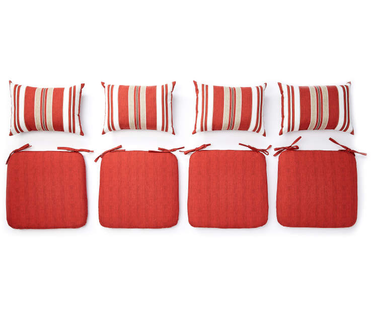Red Chair Pad and Pillow Set 8 Piece Set  silo top view