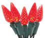 Red Crystallized LED C6 Light Set with Green Wire 60 Count silo front