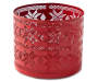 Red Fair Isle Metal Candle Sleeve silo front
