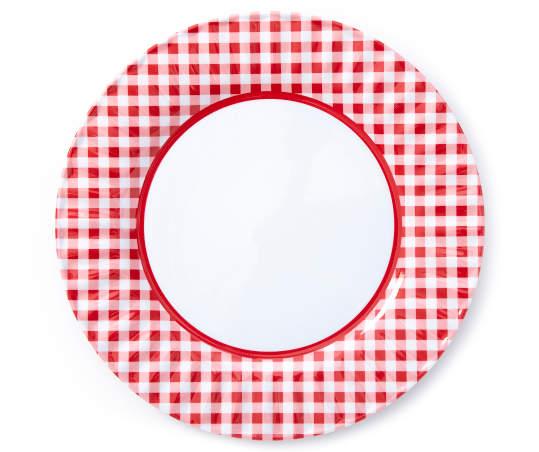 Red Gingham Plaid Melamine Dinner