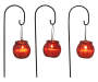 Red Glass Citronella Candles with Metal Stakes 3-Pack Out of Package Hanging Silo Image