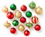 Red Green Gold Shatterproof Ornament Set 60-Pack Silo Out Of Package