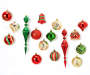 Red Green and Gold Shatterproof Ornaments 43 Count with 15 ornaments out of package showing assorted styles, shapes, colors and patterns overhead view silo image