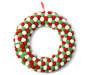 Red Green and White Pom Pom Wreath 15.25 inch silo front