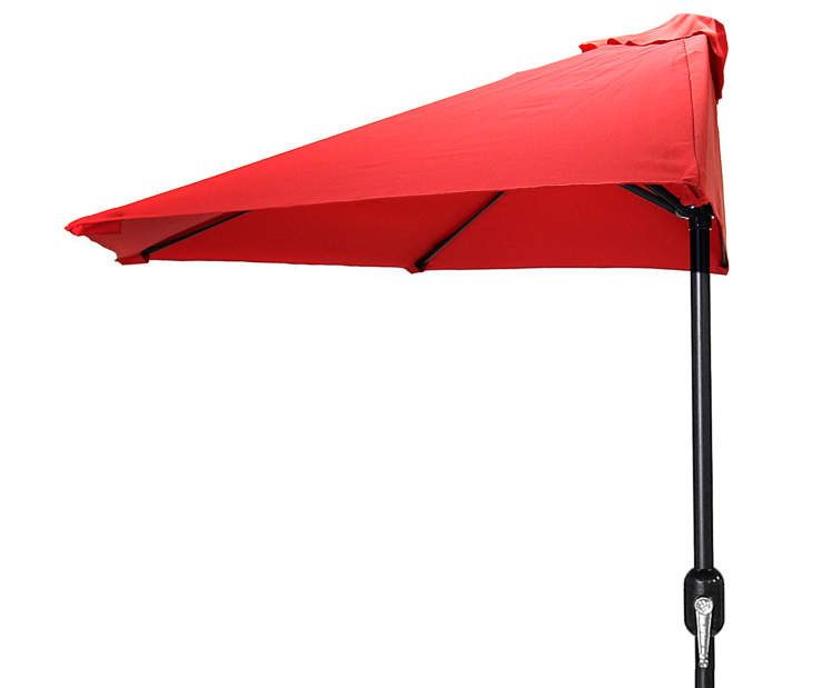 Red Half Round Market Patio Umbrella 7 Feet 2 Inches with Hand Crank Front View Silo Image